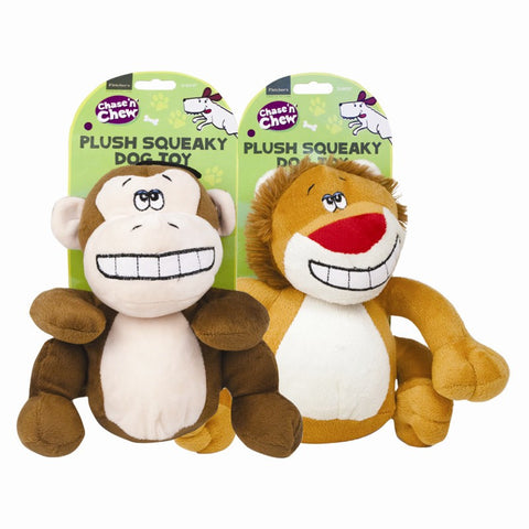 Plush Smiling Squeaky Dog Toy