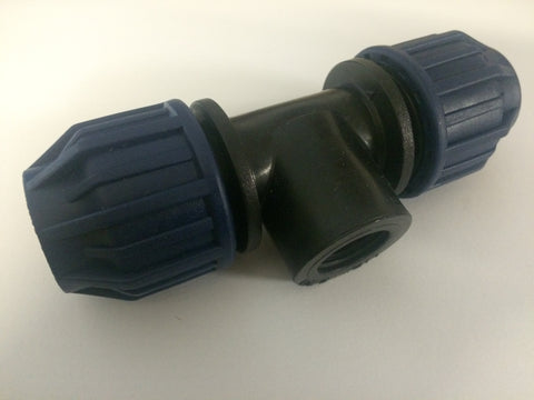 "20mm x 1/2"" BSP MDPE 90 degree Conversion Tee / T Junction for Water Pipe"