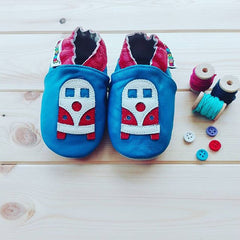 Campervan - Leather Baby Shoes by Hippofeet