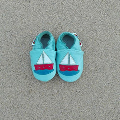 Sailboat - Leather Baby Shoes by Hippofeet
