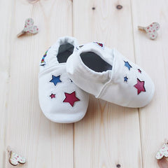 White Stars - Leather Baby Shoes by Hippofeet
