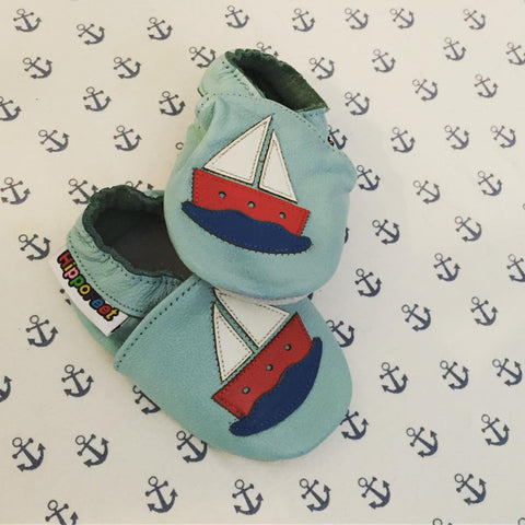 Sailboat Leather Baby Shoes by Hippofeet