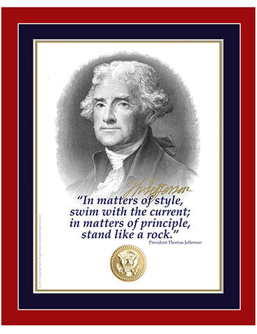 "8""x 10"" Thomas Jefferson ""In matters of style"" Matted Print"