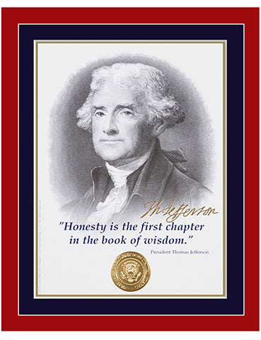 "8""x 10"" Thomas Jefferson ""Honesty"" Matted Print"