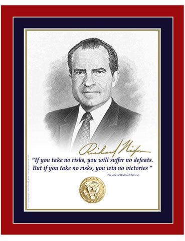 "8""x 10"" Richard Nixon  ""If you take no risks..."" Matted Print"