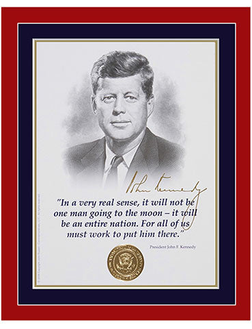 "8""x 10"" JFK  ""Man on the moon"" Matted Print"