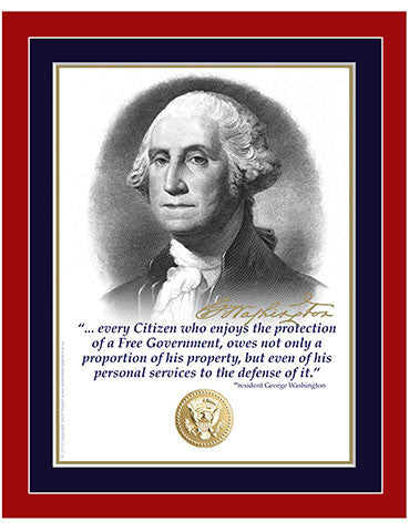 "8""x 10"" George Washington  ""Every Citizen"" Matted Print"