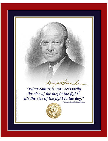 "8""x 10"" Dwight Eisenhower ""fight and dog"" Matted Print"