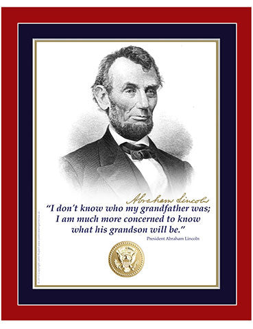 "8""x 10"" Abraham Lincoln ""...grandfather"" Matted Print"
