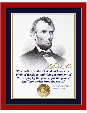 "8""x 10"" Abraham Lincoln ""This nation under God"" Matted Print"