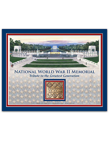 "11""x 14"" National World War II Memorial Matted Print with Bronze Medallion"
