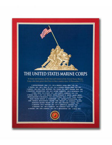 "11""x 14"" Battle for Iwo Jima Gold Embossed Matted Print"