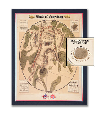 "11""x 14"" Battle of Gettysburg with Capsule of Earth from Seminary Ridge Matted Print"