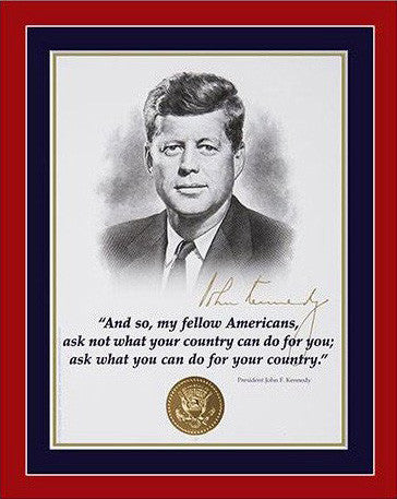 "8""x 10"" JFK  ""My fellow Americans"" Matted Print"
