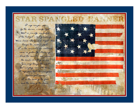 "11""x 14"" The Star Spangle Banner Flag Matted Print"