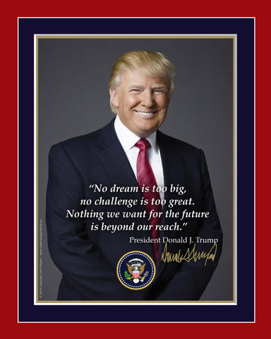 "8"" x 10"" DONALD TRUMP MATTED QUOTATION PRINT"