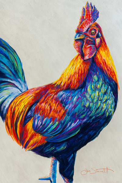 "Time-lapse painting of ""Call Upon The Sun"" rooster"
