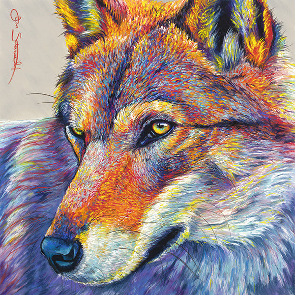 red wolf soft pastel peaceful warrior