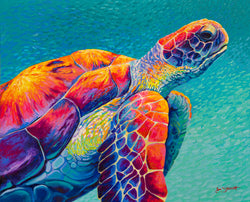 Way Finder Original Finger Painting - sea turtle
