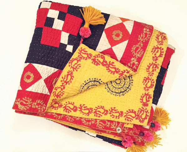 Maharani Cholistan Ralli Patchwork Block Printed Throw - Gold/Black/Red