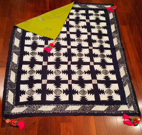 Maharani Cholistan Ralli Patchwork Block Printed Throw - Black/white