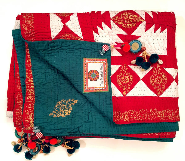 Maharani Cholistan Ralli Patchwork Block Printed Throw - Red/Green