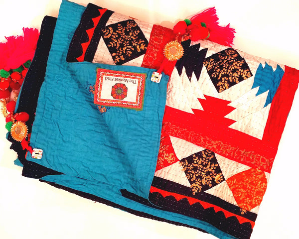 Maharani Cholistan Ralli Patchwork Block Printed Throw - Aqua/Red/White