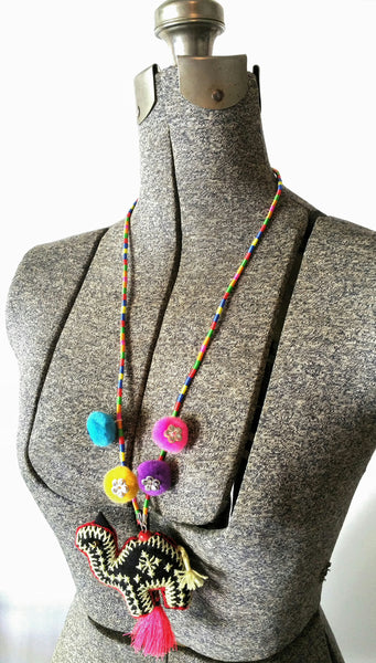Pom Pom Yarn Necklace with Camel Plush Pendant