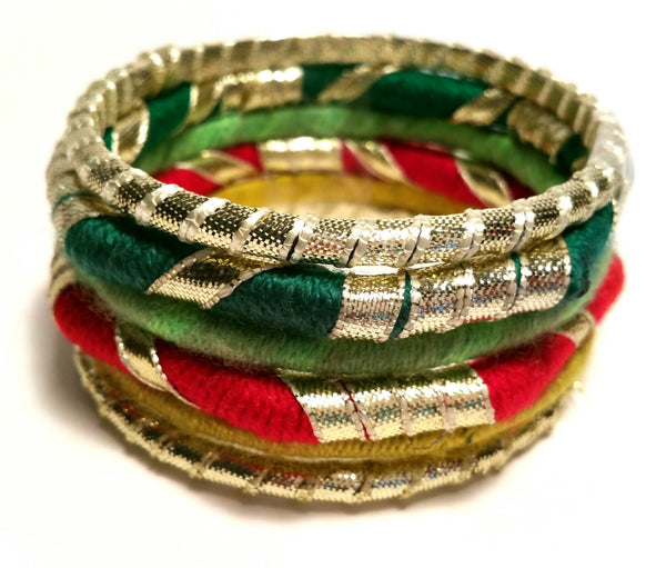 Green Multi Wool Wrapped Festive Bangle Set
