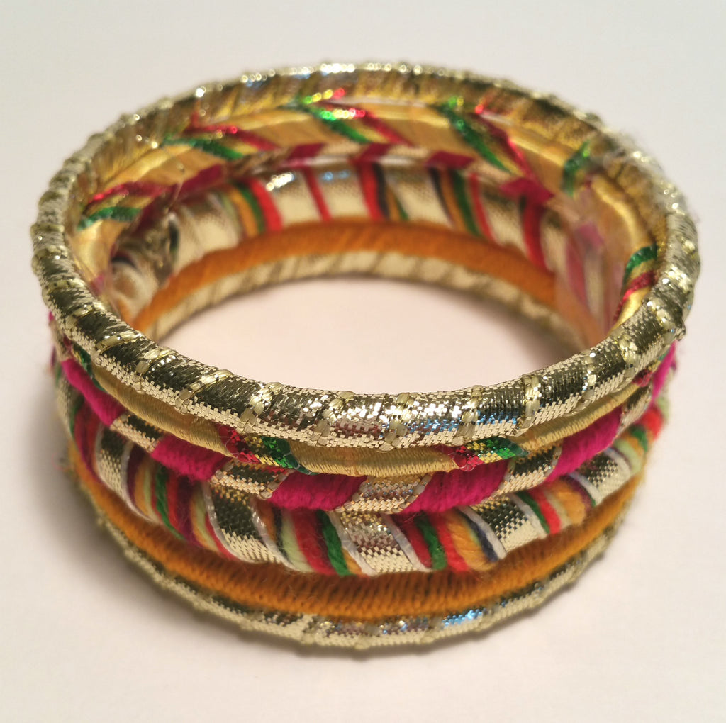 Red Multi Wool Wrapped Festive Bangle Set
