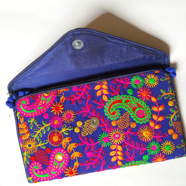 Boho Blue Paiseley Embroidery Envelope Clutch