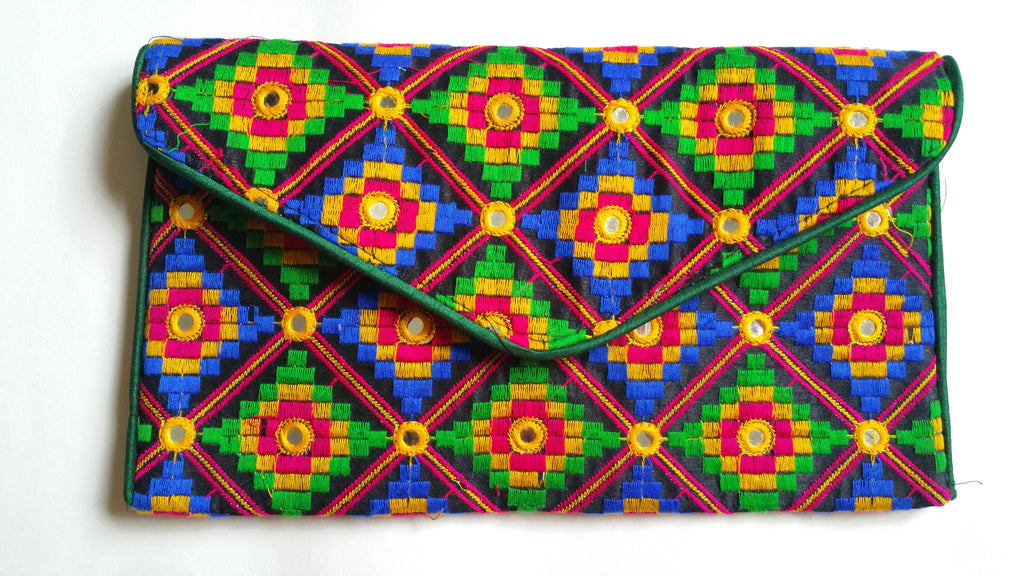 Tribal Embroidery Envelope Clutch