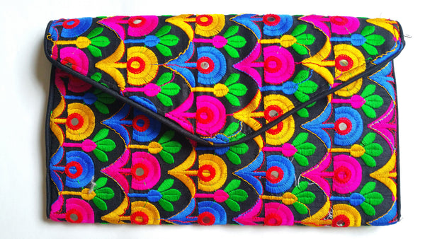 Boho Geometric Neon Floral Embroidery Envelope Clutch