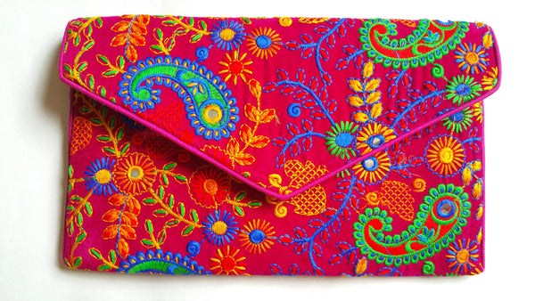 Bright Pink Embroidery Envelope Clutch