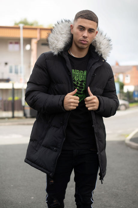 4BIDDEN VAULT BLACK BUBBLE PARKA