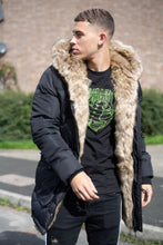 4BIDDEN TORNADO FUR-LINED BLACK BUBBLE JACKET