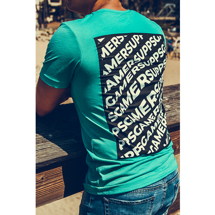 Teal Gamer Supps GG Warped T-Shirt on model