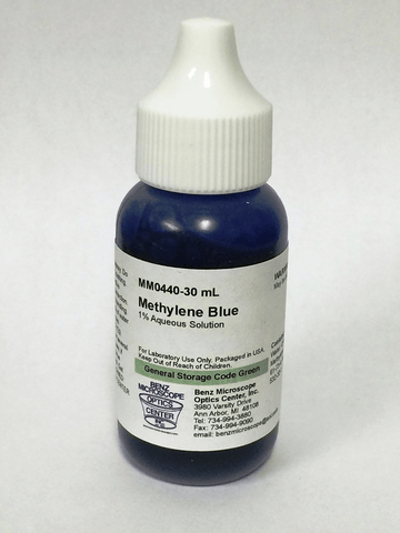 Methylene Blue Slide Stain, 1% Aqueous Solution, 30ml or 100ml (#BZ0920-6) - Benz Microscope Optics Center