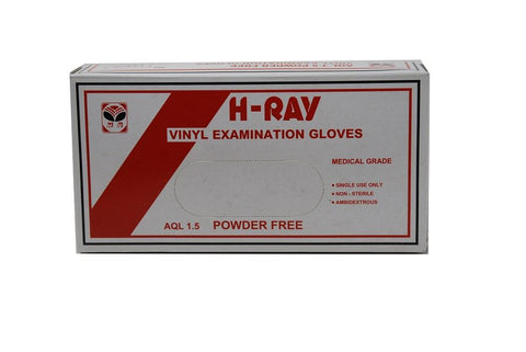 H-Ray Vinyl Examination Gloves,  Powder Free, Large, Box of 100 (50076) - Benz Microscope Optics Center