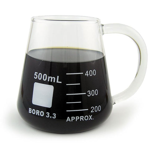 Glass Mug, Conical / Erlenmyer Flask Laboratory Mug, Graduated 500mL (BKM500EB)