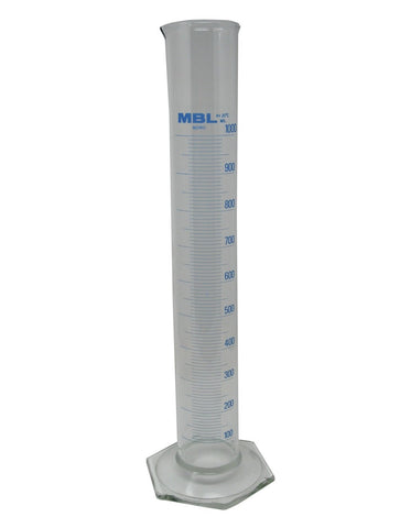 Morbank Glass Measuring Cylinder, 1000ml, Class B, Hex Base, Pack/2 (#D61000)