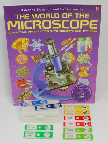 Plastic Slide Set with 10 Specimens and The World of the Microscope Book (#71354B)
