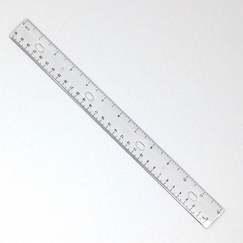 "Ruler, 12"" / 30cm, Clear Plastic, Flexible (#5462)"