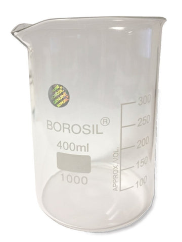 400ml Borosil Beaker, Single Scale, Glass, H10400
