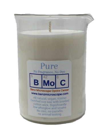 Soy wax candle in glass laboratory beaker. Hand Poured Soy Wax Beaker Candle, 400ml/12 oz, PURE, No Fragrance (#BKC-P)