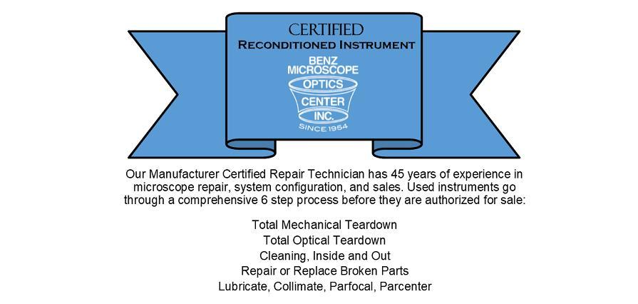 Benz Certified Reconditioned Instruments Used Microscopes
