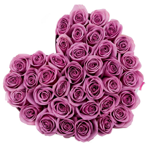 Heart - Pink Roses - White Box