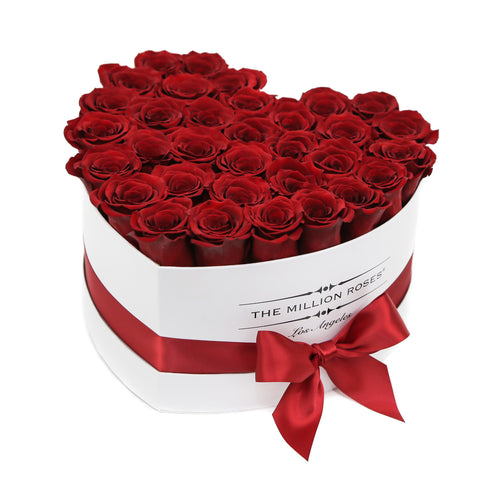 Heart - Red Roses - White Box
