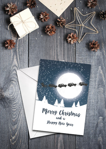 'Santa's Classic Sleigh' Christmas Card - pack of 8
