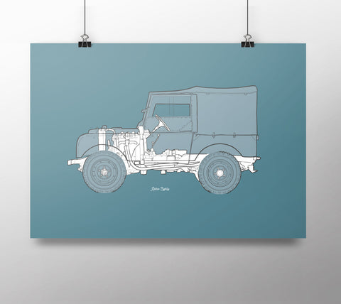"Land Rover Series 1 80"" x-ray print"